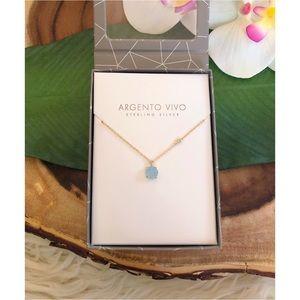 NWT Argento Vivo Small Blue Chalcedony Necklace